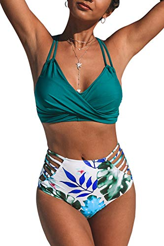 CUPSHE Women's Tropical Palms Strappy Front Twist High Waisted Bikini Sets, L