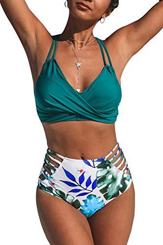 CUPSHE Tropische Palmen Twist High Waisted Bikini Set, L