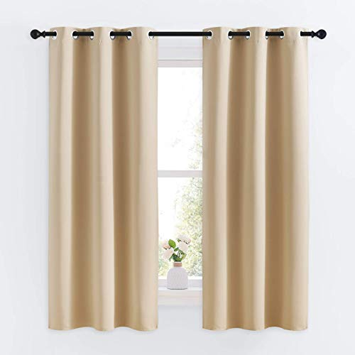 NICETOWN Room Darkening Curtain Panels for Living Room, Thermal Insulated Grommet Room Darkening Draperies/Drapes for Window (Biscotti Beige, 2 Panels, W34 x L63 -Inch)