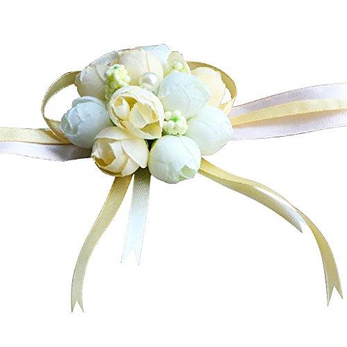 10 pcs Pulsera del Flor Muñeca,AZXES, la Flor de la Muñeca de la Novia y Damas de Honor de Perlas Suministros de Boda a Mano (Color del Champan)