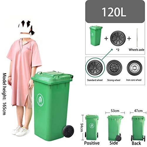 Outdoor grote prullenbak Garbage classificatie Large Commercial Street Sanitation Gemeenschap Verdikte vuilnisbak met deksel (Size : 120L-Standard wheel)