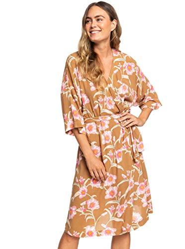 Roxy Womens Privy Places - Kimono Wrap Dress - Women - XL - Brown Chipmunk Surfin Love XL