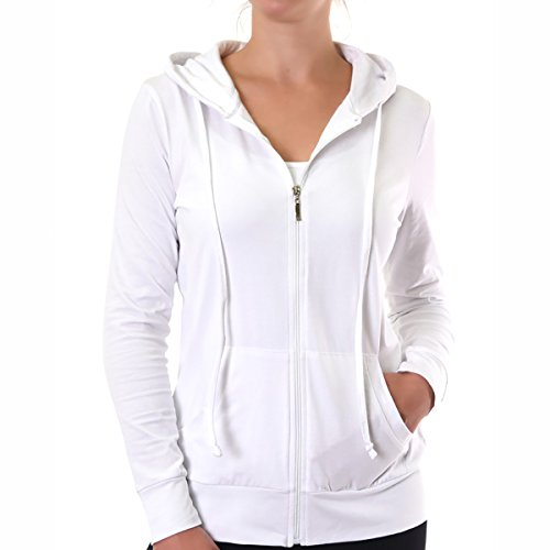 Glass House Apparel Women's Zip Up Active Yoga Gym Casual Thin Cotton Long Sleeve Jacket Hoodie (White, Medium)