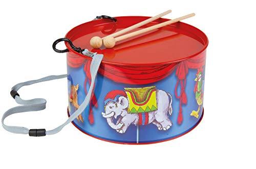 Lena 52609 x Blechtrommel Karussell Ø 20 cm, Kindertrommel aus Blech mit 2 Schlägel, Instrument für Kinder ab 3 Jahre, Schlaginstrument, Musikinstrument, Trommel mit Kinderkarussel Motiv, Mehrfarbig