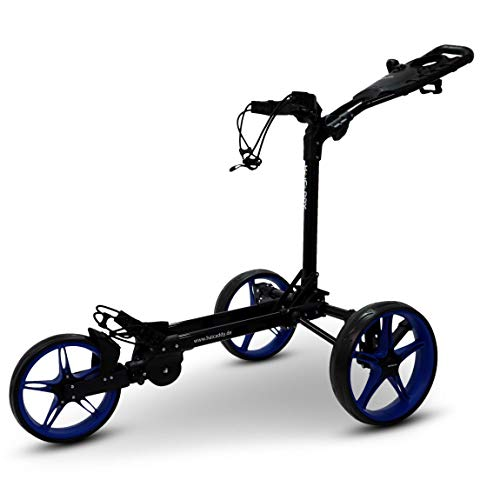 tour made Haicaddy Travel Flat HC1 3-Rad Push-Trolley Golf-Trolley Golf-Caddy (schwarz-blau)