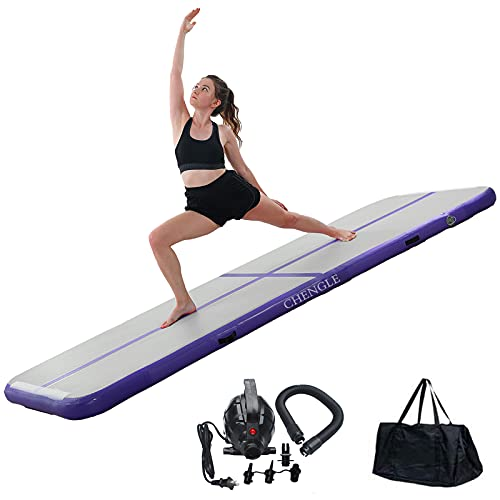 Gymnastics Mat , CHENGLE 10ft/13ft/16ft/20ft Inflatable Air Mat Tumble Track 4 inches thickness Tumbling Mat with Electric Pump for Cheerleading/Practice Gymnastics/Beach/Park/Home use