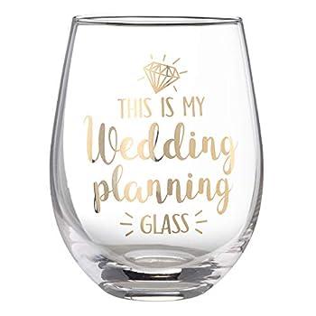 Lillian Rose Wedding Planning Stemless Wine Glass 4.75  H Gold