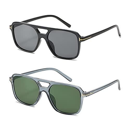 WANZPITS Gafas De Sol Polarizadas Cuadradas Clásicas De Las Mujeres, Gafas De Sol De Doble Haz De Moda Retro, 6