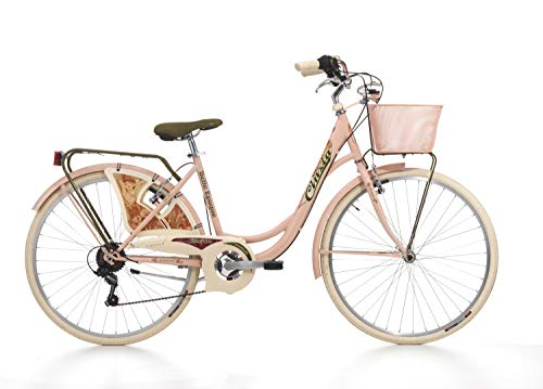 Fahrrad Cicli Cinzia Belle Epoque Damen, Stahlrahmen, 6-Gang, 26 Zoll, Größe 44 (Powder Pink, H 44)