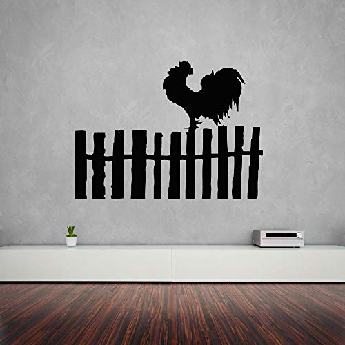 zqyjhkou Wandaufkleber Rooster Bird Farm Village Fence Design Schöne Dekoration Farm Design Vinyl Farm Decals 54,6X40,3 cm