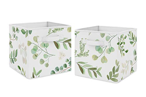 Sweet Jojo Designs Floral Leaf Foldable Fabric Storage Cube Bins Boxes Organizer Toys Kids Baby Childrens - Set of 2 - Green and White Boho Watercolor Botanical Woodland Tropical Garden