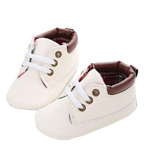 Geniaal baby herfst casual hoge top T-gebonden suède kribbe sneakers boots 13cm,9-12Monate wit