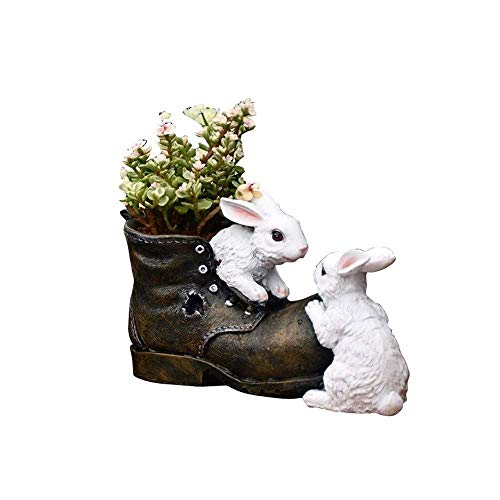 Creative Resin Succulent Planting Potplant Europees Cartoon Rabbit leren schoenen Flower Pot Cute Animal Family indoor en outdoor decoratie Bloempot Drain Hole Vetplant Pot Decorat zhihao
