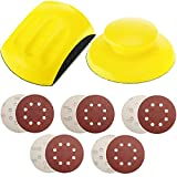 2 Pack 5 Inch Hand Sanding Blocks, MAPRIAL Round and Mouse-Shaped Sand Pad with 10 Pieces 5 Inch Hook and Loop Sanding Discs for Wood Furniture Restoration, Arts, Sanders and Polishing, Automotive