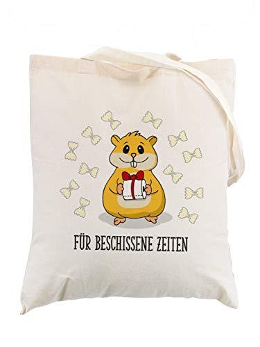 Herz & Heim® Hamster Einkaufsbeutel mit Klopapier und Nudeln für ihren Hamsterkauf, lustiges Geschenk, witzige Geschenkidee