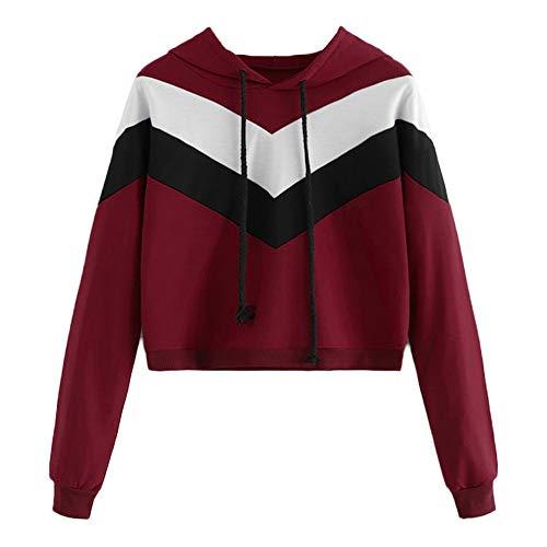 TWIFER Damen Stitching Langarmshirt Hoodie Sweatshirt Crop Pullover Mit Kapuze Streetwear