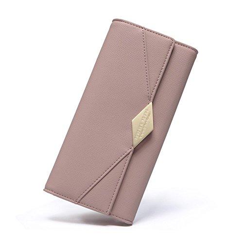 Damen Geldbörse Weich Leder viele Kartenfächer Lang Portemonnaie Clutch Geldbeutel für Frauen mit Münzfach Rosa