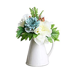 Artificial Flowers Nordic Style Artificial Flower with Vase Set, Fake Flower Silk Flower Wedding Party Decoration, Artificial Flower Fake Flower Bonsai Table Centrepieces