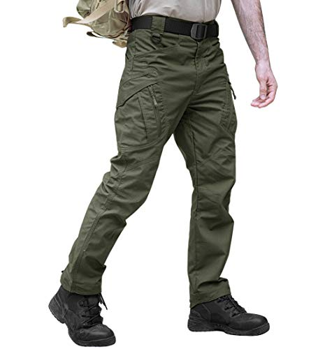 TACVASEN Outdoor Sports Lightweight Cycling Climbing Hunting Cargo Trousers Pants Army Green,34