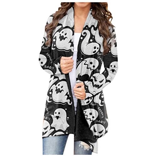 GDJGTA Women's Halloween Pumpkin Animal Cat Print Cardigan Coat Long Sleeve Outwear Open Front Sweater Jacket Coats