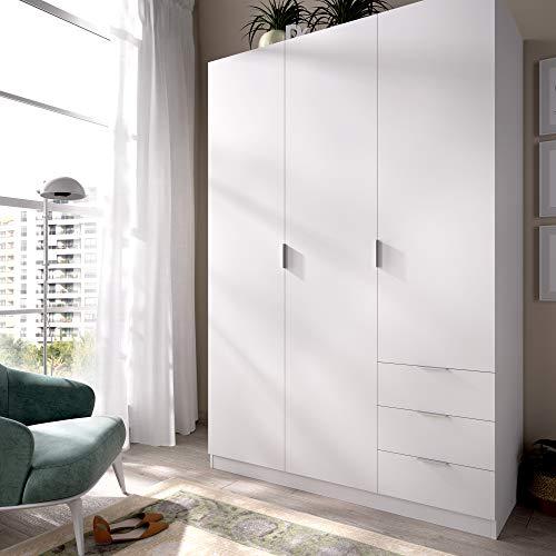 HOMEKIT Armario ropero 3 Puertas y 3 cajones, Blanco, 121x184x52 cm