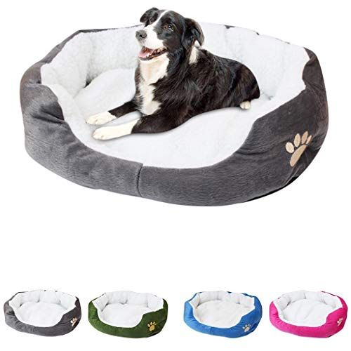 Pet Dog Puppy Cat Fleece Warm Bed House - Plush Cozy Mat Pad - Tent Soft Bed Memory Foam Comfortable - Large Dog Mattress Pet Accessories (Gray)