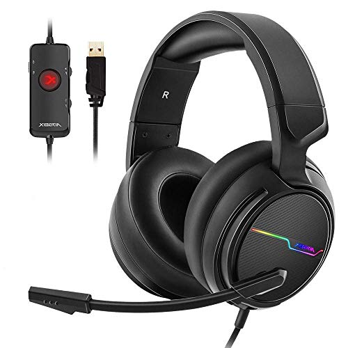 Jeecoo USB Pro Gaming Headset for PC- 7.1 Surround Sound Headphones with Noise Cancelling Mic- Memory Foam Ear Pads RGB Lights for Laptops (Renewed)