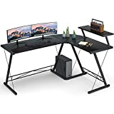Coleshome Reversible L Shaped Desk, 60.8' Home Office Desk with Round Corner Computer Desk with Large Monitor Stand,PC Table Workstation, Black