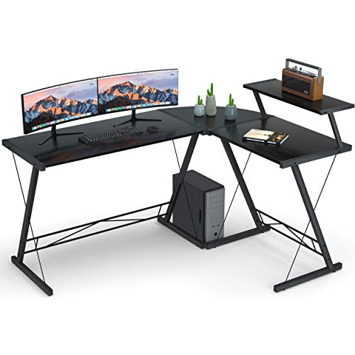 L Shaped Desk Home Office Desk with Round Corner.Coleshome Computer Desk with Large Monitor Stand,PC...