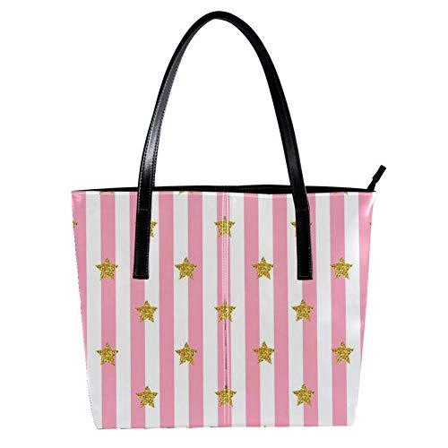 TIZORAX Damen-Handtasche mit goldenem Glitzerstern auf rosa gestreiftem PU-Leder