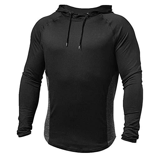 Camiseta de los hombres con capucha camiseta de los hombres ropa deportiva de los hombres Negro