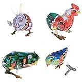 TOOGOO Jouet Mecanique Ancien Metal Lapin Poussin Grenouille Oiseau Collection Cadeaux pour Enfants