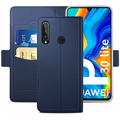 Handyhülle für Huawei P30 lite Hülle & Huawei P30 Lite New Edition Hülle Premium Leder Flip [Standfunktion] [Kartenfächern][Fingerabdruck-Version] Schutzhülle für Huawei P30 lite Tasche, Blau