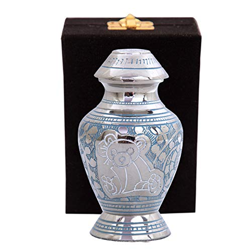 Blue Baby Keepsake Urns - Mini Infant Urn for Baby Girl or Boy - with Premium Velvet Box & Bag - Teddy Bear Handcrafted Small Cremation/Funeral Urns for Children Ashes - Tribute to Your Loved Kid
