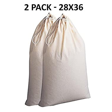 Cotton Craft - 2 Pack Extra Large 100% Cotton Canvas Heavy Duty Laundry Bags - Natural Cotton - 28x36 - Versatile - Multi Use - Santa Sack