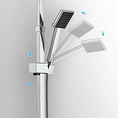 Auralum – Thermostat-Duscharmatur, Duschsystem mit Brausethermostat und Regendusche, Chrom - 7