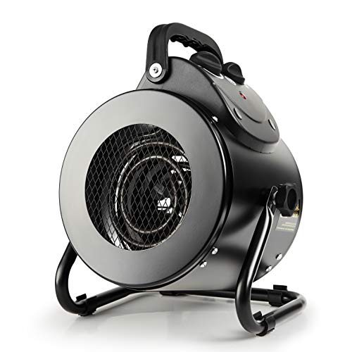 iPower Electric Heater Fan for Greenhouse, Grow Tent, Workplace, Overheat Protection, Fast Heating, Spraywater proof IPX4, Black