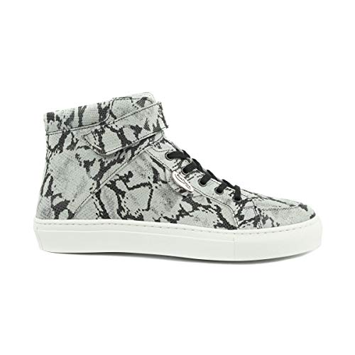 PortDance PD HH003 High Sneakers, uniseks, leer, Snake-patroon, wit-zwart, Made in Portugal