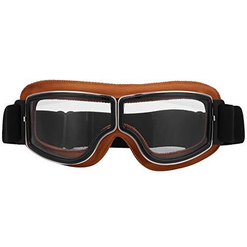 YJZO Gafas de moto para exteriores, para motocicleta, scooter, ciclismo, resistente al viento, gafas de casco (vidrio transparente)