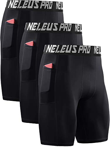 Neleus Men's 3 Pack Compression Shorts with Pockets Dry Fit