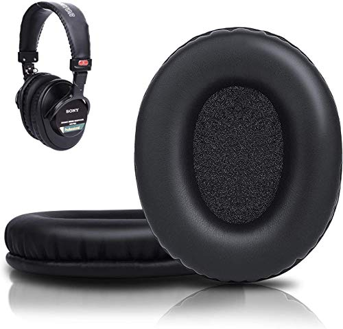 SOULWIT Ear Pads Cushions Replacement, Earpads Compatible with Sony MDR 7506/ MDR V6 / MDR V7 / MDR-CD900ST Monitor Headphones, Softer Protein Leather, High-Density Foam