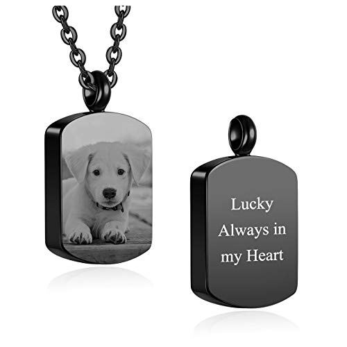 JOVIVI Personalized Dog Tag Pendant Urn Necklace Engraving Photo/Name/Date/Calendar Customized for Men Women Dog Cat Pet Stainless Steel Ashes Memorial Keepsake Cremation Jewelry