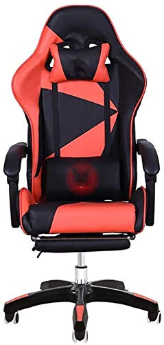 WGFGXQ Office Chair Reclining Office Chair with Footrest Multifunction Gaming Chair Adjustable Height High Backrest Executive Chair with Headrest and Lumbar Massage Support (Color : Black