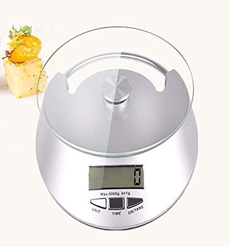 ZTMN Báscula electrónica con Reloj Báscula de Cocina Báscula de hogar Mini 5 kg Báscula de gramo de Alta precisión