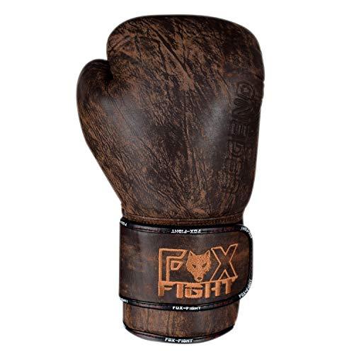 FOX-FIGHT Legend Boxhandschuhe aus echtem Leder Boxen Kickboxen Muay Thai Training Sparring 10 OZ braun