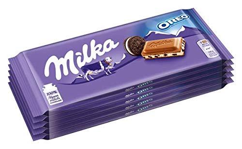 Milka & OREO Schokoladentafel – Zarte Milka Alpenmilch Schokolade mit knusprigen original OREO-Keksstückchen – 5 x 100g