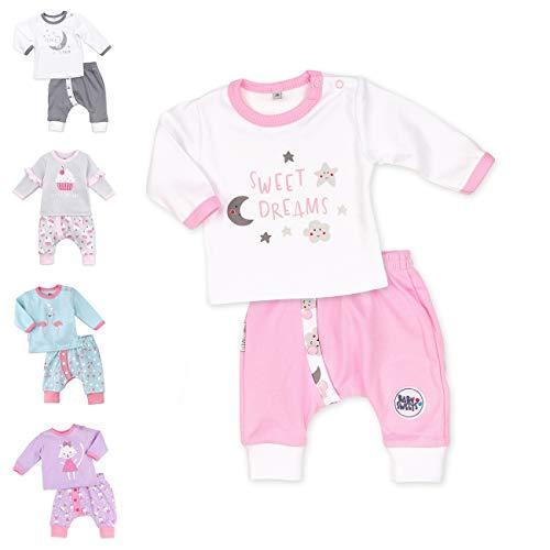 Baby Sweets 2er Baby-Set mit Hose & Shirt für Mädchen/Baby-Erstausstattung in Rosa mit Mond-Sterne-Motiv/Baby-Kleidung-Set aus Baumwolle für Neugeborene & Kleinkinder in Größe 68 (6 Monate)