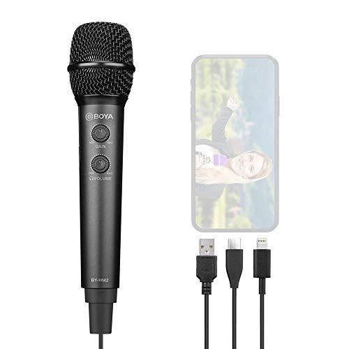 Boya BY-HM2 Professionele handmicrofoon voor iPhone, Android en computer, met USB-C- en Lightning-aansluiting