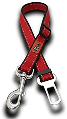 """Two - Dog Seat Belt Leashes - No.1 (3.7-6ft) and No.2 (22""""-37"""") Adjustable - Reflective Dog Leash - Pocket with Zipper for Waste Bags - Soft Padded Handle for Comfort and Control (Red with Black)"""