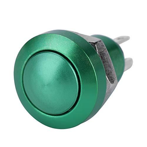 Qiilu Interruptor de botón, 1A 24V 8mm Mini interruptor de encendido momentáneo impermeable para coche, aleación de zinc-aluminio(Verde)